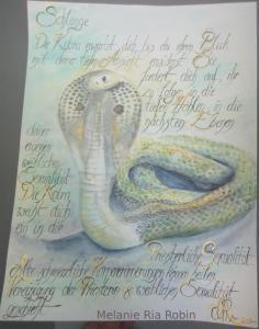Heilige Kobra mit Text